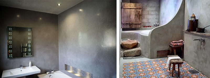 Badkamers waar tadelakt gerealiseerd is