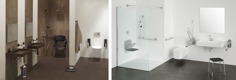 Aangepast sanitair: douches met vlakke vloer en zitje