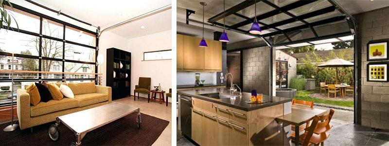 Omgebouwde garages; woonkamer en keuken